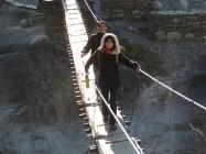 Mastram and Marie cross a bridge...