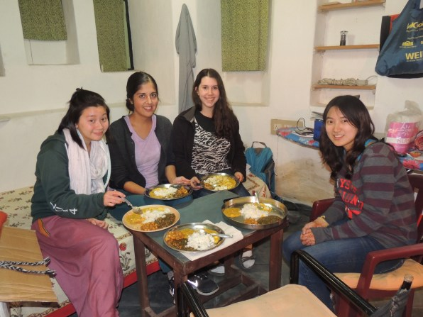 A very impromptu dinner party: from left - Cheryl, Clarke, Ceinwen, and Marie