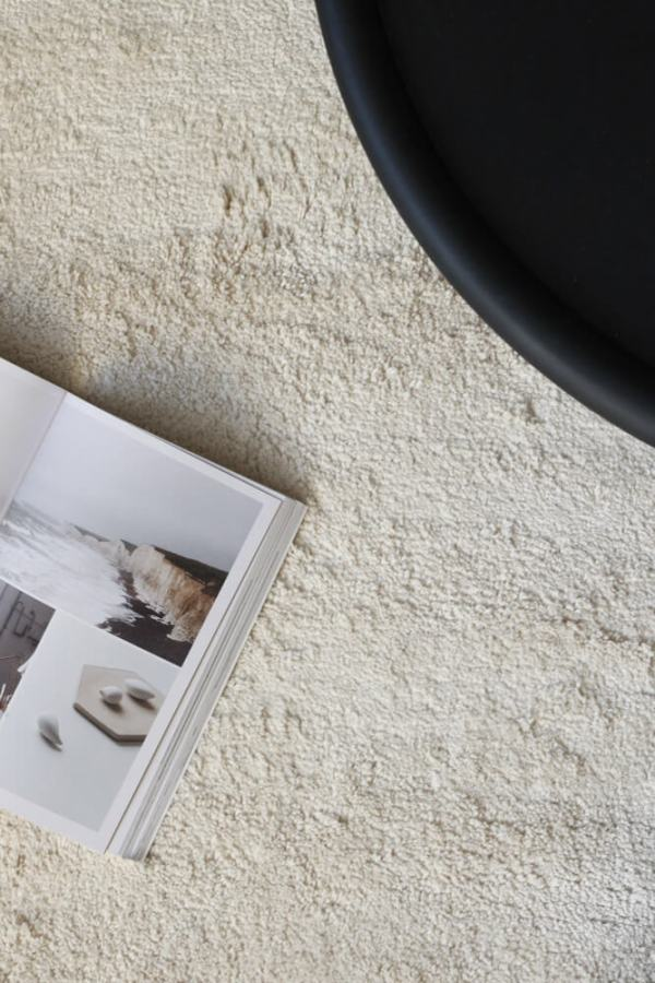 White Pile Linen Rug interior