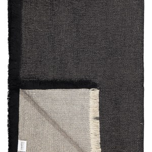 Black Fishbone Linen Throw