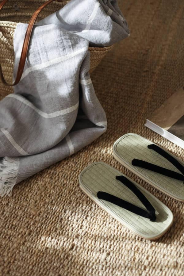 Gray Linen Beach Towel interior