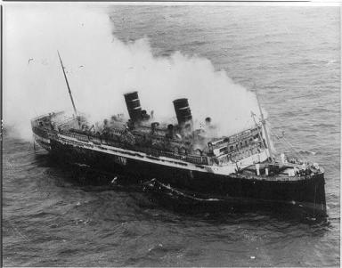The Morro Castle burning at sea.
