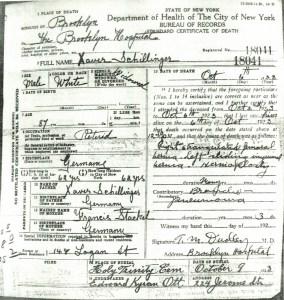 Xaver Schillinger Death Certificate