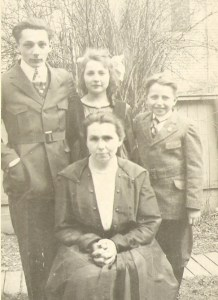 Anna Noteboom Thomas, with her children, Gerald, Mae and Frank Thomas.  Year unknown.  From the collection of cousin Paul.