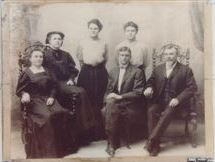 The Noteboom Family, right to left: Kate, Johanna, Dorothea, Geraldine, Walter Jr., and Walter. c. 1905 From the collection of cousin Johanna, used with her permission