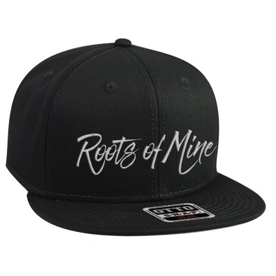 Roots of Mine White on Black Snapback Hat