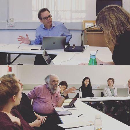 A photo from a seminar meeting with Maria Alvarez, Joseph Raz, and John Hyman