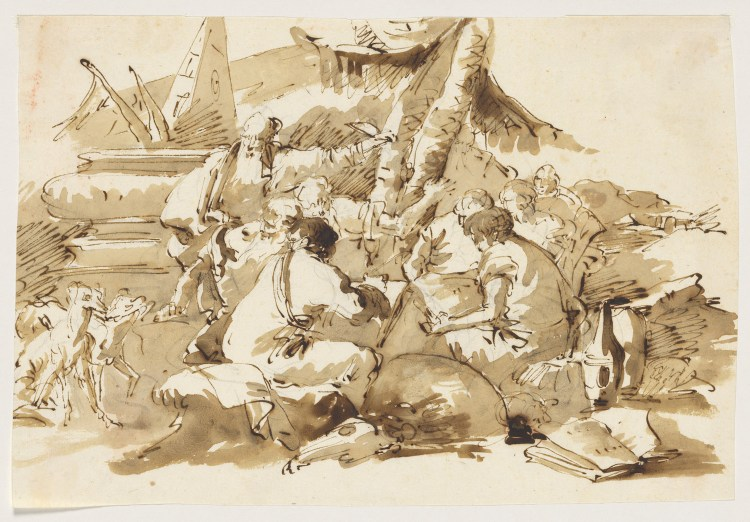 Philosophers Instructing Pupils by an Antique Sarcophagus. Lorenzo Baldiserra Tiepolo. Mid-18th century. The Met.