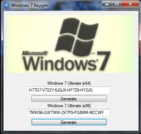 windows seven key generator