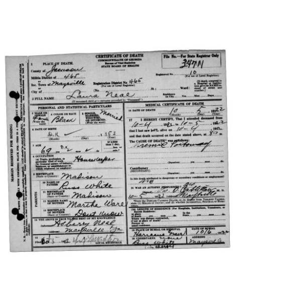 Laura Neal death certificate