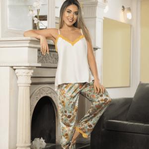 pijama-satin-verde-amarillo-flores
