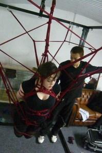 Clover suspended in rope bondage by Hajime Kinoko