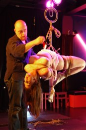 Shibari hip rope suspension of Clover by WykD Dave
