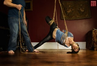 Shibari suspension, futomomo, face rope on Nina Russ by WykD Dave. Photography by Clover