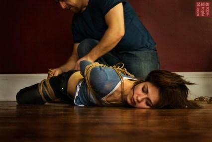 Nina Russ enjoying shibari rope bondage from WykD Dave Photography by Clover