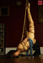 Stretched shibari, futomomo, jeans, tight rope bondage with Nina Russ Photography by Clover
