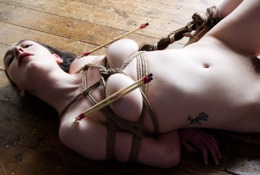 Hair bondage and chopsticks. Model Gestalta