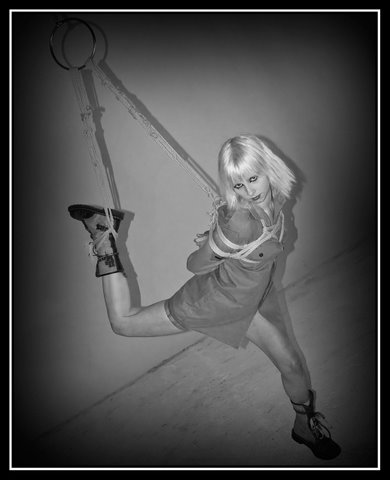 Partial suspension. Halo Haynes, Shibari by WykD Dave. Image by Jonny Blaze.