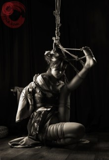Stressful floor bondage, intense shibari