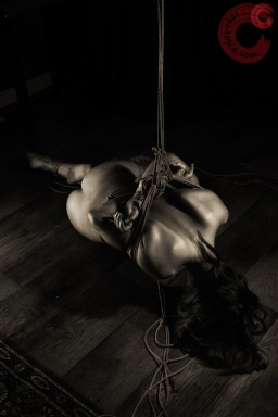 Partial low shibari suspension bondage