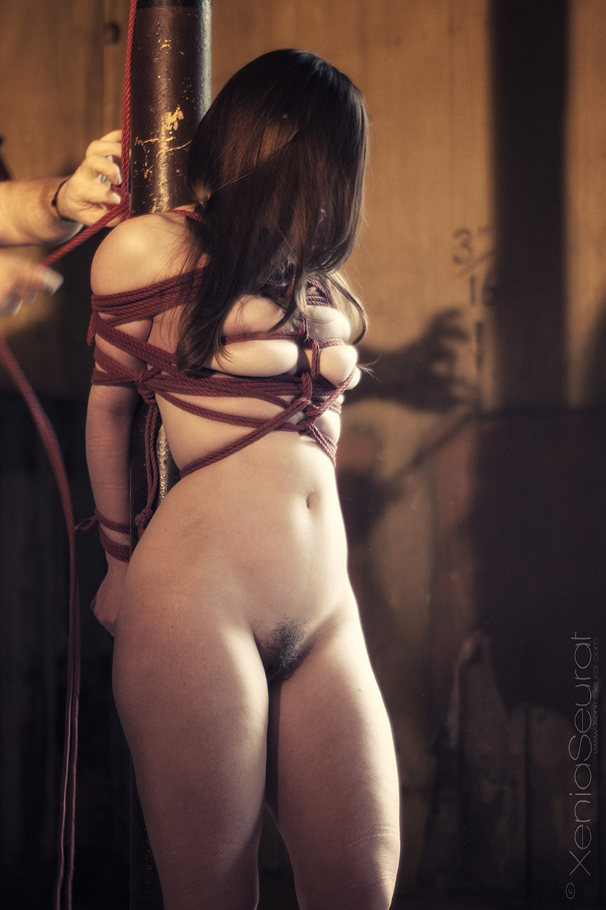 Clover Shibari suspension bondage on vertical post tying in progress