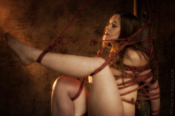 Clover Shibari suspension bondage on vertical post