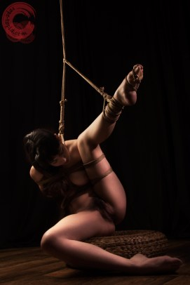 Exposed partial suspension shibari