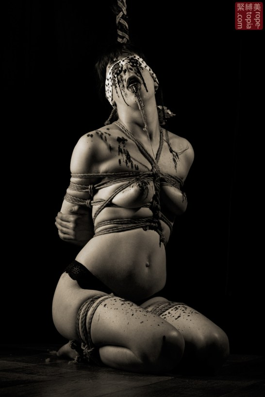 Rope bondage blindfold torture and wax