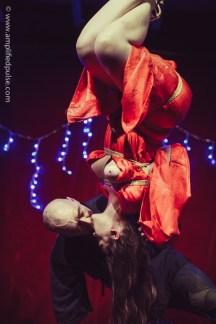 The kiss. In suspension bondage inversion