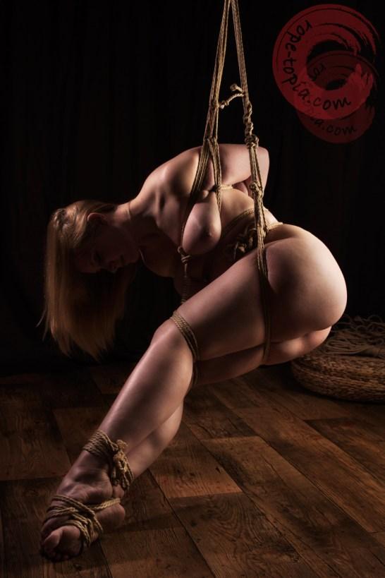 Partial suspension shibari bondage.