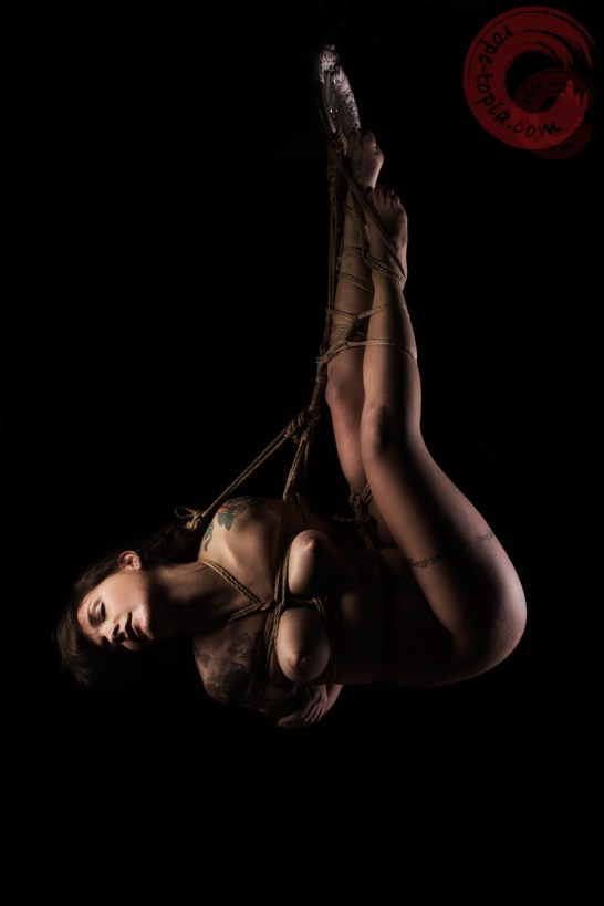 Adreena Winters, Shibari bondage suspension, hair bondage