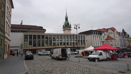 Town square but really looking at the tower beyond