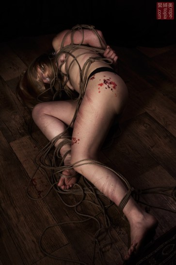 Broken on the bround after shibari bondage suspension