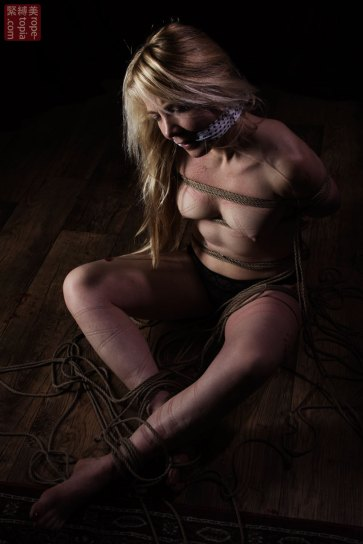 Gagged and bound, shibari bondage