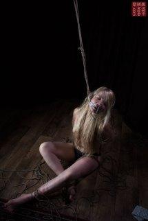 Shibari torture, hair bondage, gag, neck rope