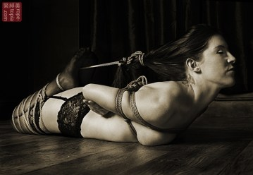Shibari bondage hog tie (nearly)