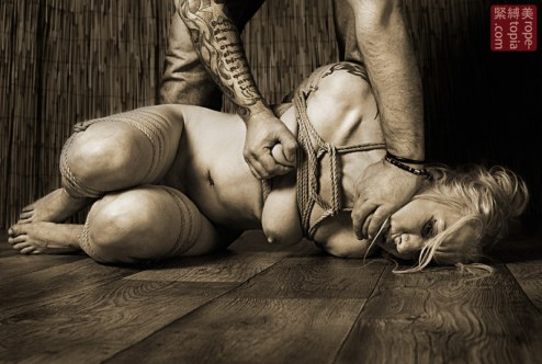 Pushing you shibari