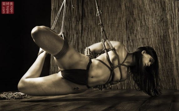 Low shibari suspension bondage