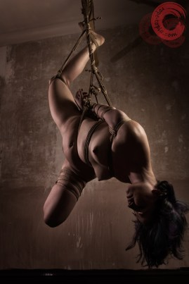 Twisted stressfull shibari bondage suspension