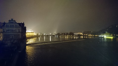 River Vltava at night in Prague.
