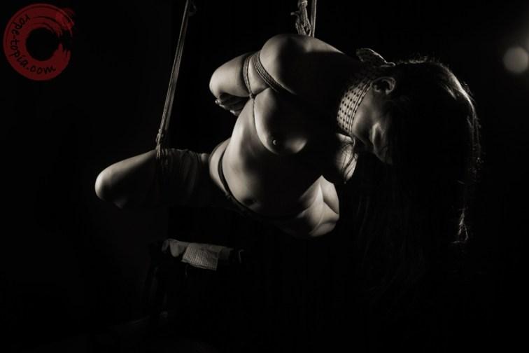 Suspension shibari bondage, bound and gagged. Takatekote, futomomo suspension.