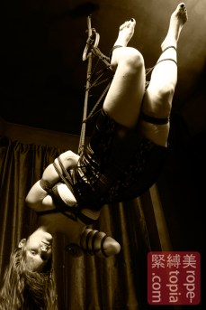 Assymetric shibari suspension bondage