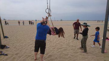 Fun times Shibari at the Original Muscle Beach Santa Monica LA