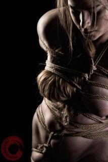Ankrah Bound breasts and hair, organic rope bondage.