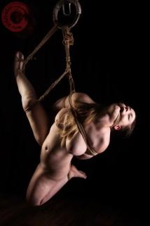 High leg shibari with reverse prayer hair bondage and rope gag