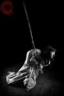 Partial suspension Shibari bondage in kimono. WykD method TK. Bondage images by WykD Dave & Clover.