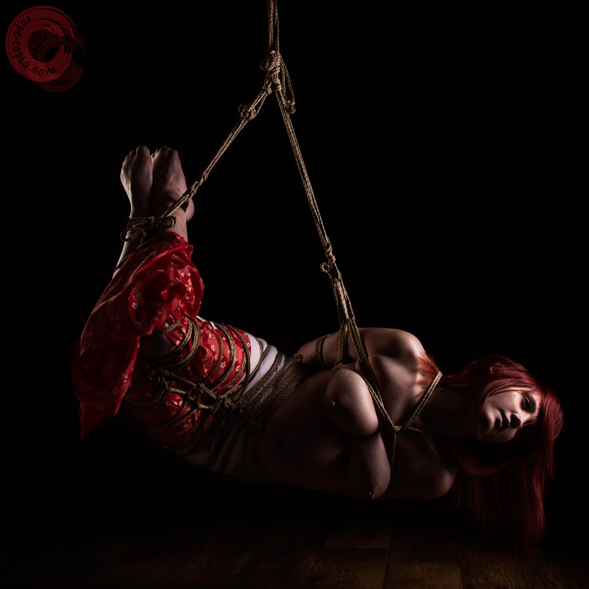 Freestyle shibari bondage photoshoot by Clover & WykD Dave. Model Red Riding Brat #WykDRope Contact us for prints.