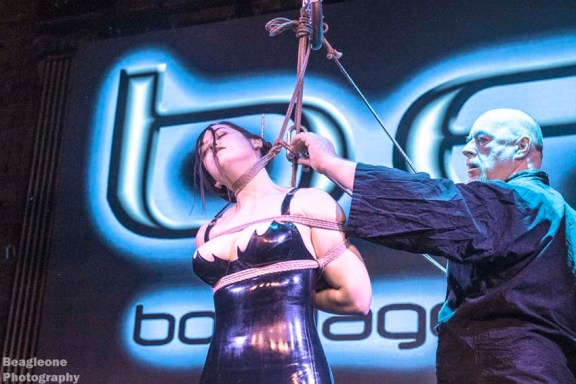 Shibari bondage show at the Church after party for Bondage Expo Dallas.