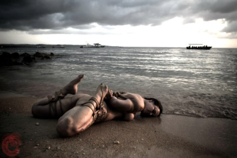 The tide is coming in. Shibari bondage on the beach at BeachBind Hedonism 2 Jamaica. WykD Dave & Clover