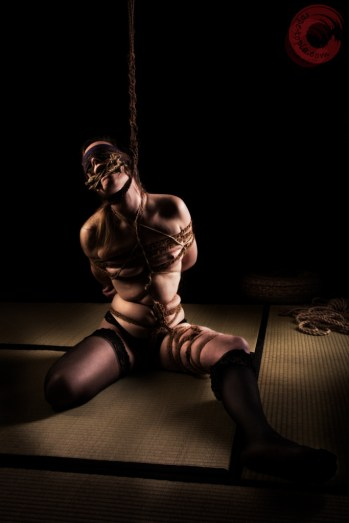 Tongue tied, blindfold, neck rope, leg binding, tight coconut rope bondage.
